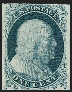 Sale Number 1209, Lot Number 1095, 1851-56 Issue (Scott 5-17)1c Blue, Ty. II (7), 1c Blue, Ty. II (7)