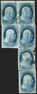 Sale Number 1209, Lot Number 1096, 1851-56 Issue (Scott 5-17)1c Blue, Ty. II, Major Plate Crack (7 var), 1c Blue, Ty. II, Major Plate Crack (7 var)