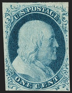 Sale Number 1209, Lot Number 1097, 1851-56 Issue (Scott 5-17)1c Blue, Ty. IV (9), 1c Blue, Ty. IV (9)