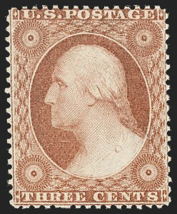 Sale Number 1209, Lot Number 1104, 1857-60 Issue (Scott 18-39)3c Rose, Ty. I (25), 3c Rose, Ty. I (25)