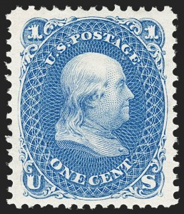 Sale Number 1209, Lot Number 1127, 1875 Re-Issue of 1861-66 Issue (Scott 102-111)1c Blue, Re-Issue (102), 1c Blue, Re-Issue (102)
