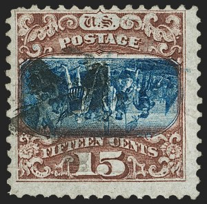 Sale Number 1209, Lot Number 1145, 1869 Pictorial Issue (Scott 112-122)15c Brown & Blue, Ty. II, Center Inverted (119b), 15c Brown & Blue, Ty. II, Center Inverted (119b)