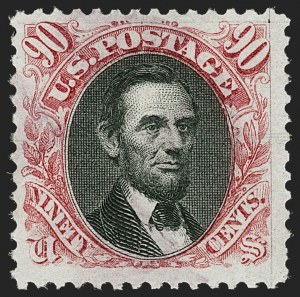 Sale Number 1209, Lot Number 1154, 1875 Re-Issue of 1869 Pictorial Issue (Scott 123-133a)90c Carmine & Black, Re-Issue (132), 90c Carmine & Black, Re-Issue (132)