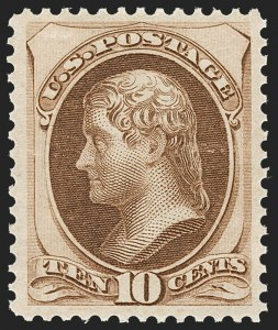 Sale Number 1209, Lot Number 1160, 1870-88 Bank Note Issues (Scott 134-218)10c Brown (161). Mint N.H, 10c Brown (161). Mint N.H