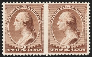Sale Number 1209, Lot Number 1170, 1870-88 Bank Note Issues (Scott 134-218)2c Pale Red Brown, Special Printing, Horizontal Pair, Imperforate Between (211Bc), 2c Pale Red Brown, Special Printing, Horizontal Pair, Imperforate Between (211Bc)