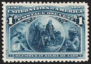 Sale Number 1209, Lot Number 1182, 1893 Columbian Issue (Scott 230-245)1c Columbian (230), 1c Columbian (230)