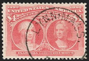 Sale Number 1209, Lot Number 1193, 1893 Columbian Issue (Scott 230-245)$4.00 Columbian (244), $4.00 Columbian (244)