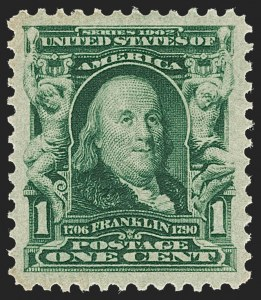 Sale Number 1209, Lot Number 1222, 1902-08 Issues (Scott 300-320)1c Blue Green (300), 1c Blue Green (300)