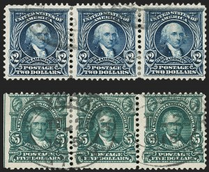 Sale Number 1209, Lot Number 1228, 1902-08 Issues (Scott 300-320)$2.00 Dark Blue, $5.00 Dark Green (312-313), $2.00 Dark Blue, $5.00 Dark Green (312-313)