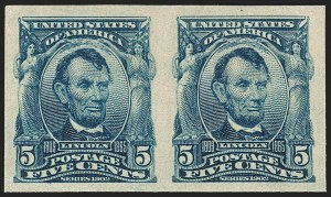 Sale Number 1209, Lot Number 1230, 1902-08 Issues (Scott 300-320)5c Blue, Imperforate (315), 5c Blue, Imperforate (315)
