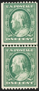 Sale Number 1209, Lot Number 1240, 1908-13 Washington-Franklin Issues (Scott 331-396)1c Green, Coil (348), 1c Green, Coil (348)