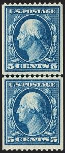 Sale Number 1209, Lot Number 1241, 1908-13 Washington-Franklin Issues (Scott 331-396)5c Blue, Coil (351), 5c Blue, Coil (351)