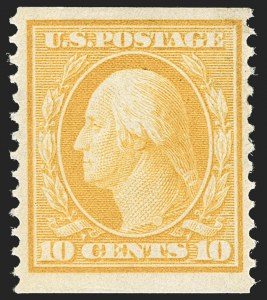 Sale Number 1209, Lot Number 1244, 1908-13 Washington-Franklin Issues (Scott 331-396)10c Yellow, Coil (356), 10c Yellow, Coil (356)