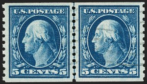 Sale Number 1209, Lot Number 1266, 1912-20 Washington-Franklin Issues (Scott 405-550)5c Blue, Coil (447), 5c Blue, Coil (447)