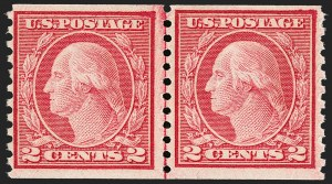 Sale Number 1209, Lot Number 1268, 1912-20 Washington-Franklin Issues (Scott 405-550)2c Carmine Rose, Ty. I, Coil (453), 2c Carmine Rose, Ty. I, Coil (453)