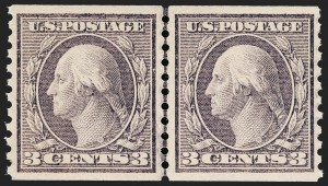Sale Number 1209, Lot Number 1270, 1912-20 Washington-Franklin Issues (Scott 405-550)3c Violet, Coil (456), 3c Violet, Coil (456)