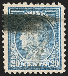 Sale Number 1209, Lot Number 1282, 1912-20 Washington-Franklin Issues (Scott 405-550)20c Light Ultramarine, Perf 10 at Top (515d), 20c Light Ultramarine, Perf 10 at Top (515d)