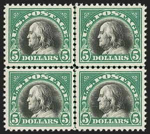 Sale Number 1209, Lot Number 1288, 1912-20 Washington-Franklin Issues (Scott 405-550)$5.00 Deep Green & Black (524), $5.00 Deep Green & Black (524)