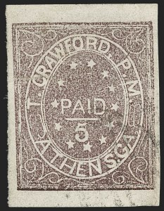 Sale Number 1209, Lot Number 1396, Confederate StatesAthens Ga., 5c Purple (5X1), Athens Ga., 5c Purple (5X1)