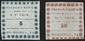 Sale Number 1209, Lot Number 1399, Confederate StatesFredericksburg Va., 5c Blue, 10c Red on Thin Bluish (26X1, 26X2), Fredericksburg Va., 5c Blue, 10c Red on Thin Bluish (26X1, 26X2)