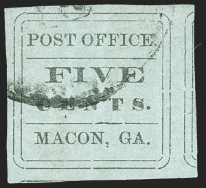 Sale Number 1209, Lot Number 1400, Confederate StatesMacon Ga., 5c Black on Light Blue Green Laid (53X8), Macon Ga., 5c Black on Light Blue Green Laid (53X8)