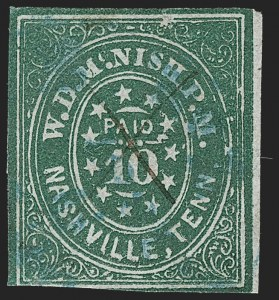 Sale Number 1209, Lot Number 1401, Confederate StatesNashville Tenn., 10c Green (61X6), Nashville Tenn., 10c Green (61X6)