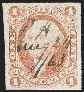 Sale Number 1209, Lot Number 1459, Revenues: First Issue Imperforate (R1a-R76a)1c Telegraph, Imperforate (R4), 1c Telegraph, Imperforate (R4)
