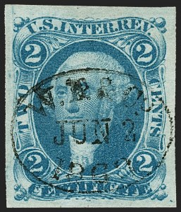 Sale Number 1209, Lot Number 1460, Revenues: First Issue Imperforate (R1a-R76a)2c Certificate, Blue, Double Transfer (T7), Imperforate (R7a var), 2c Certificate, Blue, Double Transfer (T7), Imperforate (R7a var)