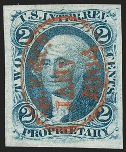 Sale Number 1209, Lot Number 1461, Revenues: First Issue Imperforate (R1a-R76a)2c Proprietary, Blue, Imperforate (R13a), 2c Proprietary, Blue, Imperforate (R13a)