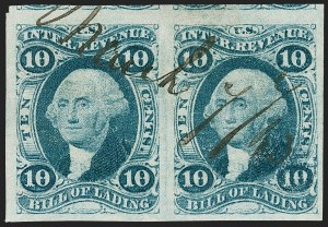 Sale Number 1209, Lot Number 1465, Revenues: First Issue Imperforate (R1a-R76a)10c Bill of Lading, Imperforate (R32a), 10c Bill of Lading, Imperforate (R32a)