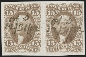 Sale Number 1209, Lot Number 1471, Revenues: First Issue Imperforate (R1a-R76a)15c Inland Exchange, Imperforate (R40a), 15c Inland Exchange, Imperforate (R40a)
