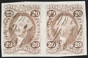 Sale Number 1209, Lot Number 1472, Revenues: First Issue Imperforate (R1a-R76a)20c Foreign Exchange, Imperforate (R41a), 20c Foreign Exchange, Imperforate (R41a)