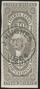 Sale Number 1209, Lot Number 1474, Revenues: First Issue Imperforate (R1a-R76a)30c Foreign Exchange, Imperforate (R51a), 30c Foreign Exchange, Imperforate (R51a)