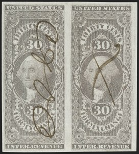 Sale Number 1209, Lot Number 1475, Revenues: First Issue Imperforate (R1a-R76a)30c Foreign Exchange, Imperforate (R51a), 30c Foreign Exchange, Imperforate (R51a)