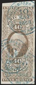 Sale Number 1209, Lot Number 1476, Revenues: First Issue Imperforate (R1a-R76a)40c Inland Exchange, Imperforate (R53a), 40c Inland Exchange, Imperforate (R53a)