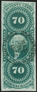 Sale Number 1209, Lot Number 1482, Revenues: First Issue Imperforate (R1a-R76a)70c Foreign Exchange, Imperforate (R65a), 70c Foreign Exchange, Imperforate (R65a)