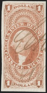 Sale Number 1209, Lot Number 1484, Revenues: First Issue Imperforate (R1a-R76a)$1.00 Passage Ticket, Imperforate (R74a), $1.00 Passage Ticket, Imperforate (R74a)