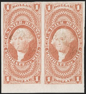 Sale Number 1209, Lot Number 1485, Revenues: First Issue Imperforate (R1a-R76a)$1.00 Probate of Will, Imperforate (R76a), $1.00 Probate of Will, Imperforate (R76a)