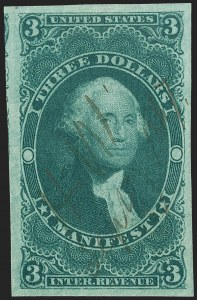 Sale Number 1209, Lot Number 1494, Revenues: First Issue Imperforate, cont. (R77a-R102a)$3.00 Manifest, Imperforate (R86a), $3.00 Manifest, Imperforate (R86a)
