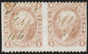 Sale Number 1209, Lot Number 1540, Revenues: First Issue Part Perforated1c Proprietary, Part Perforated (R3b), 1c Proprietary, Part Perforated (R3b)