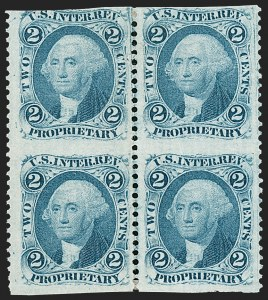 Sale Number 1209, Lot Number 1543, Revenues: First Issue Part Perforated2c Proprietary, Blue, Part Perforated (R13b), 2c Proprietary, Blue, Part Perforated (R13b)