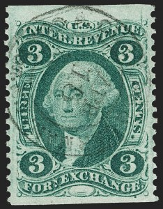 Sale Number 1209, Lot Number 1544, Revenues: First Issue Part Perforated3c Foreign Exchange, Part Perforated (R16b), 3c Foreign Exchange, Part Perforated (R16b)