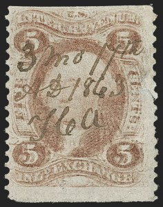 Sale Number 1209, Lot Number 1548, Revenues: First Issue Part Perforated5c Inland Exchange, Part Perforated, Double Impression (R27b var), 5c Inland Exchange, Part Perforated, Double Impression (R27b var)