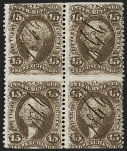 Sale Number 1209, Lot Number 1552, Revenues: First Issue Part Perforated15c Inland Exchange, Part Perforated, Double Impression (R40e), 15c Inland Exchange, Part Perforated, Double Impression (R40e)
