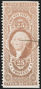 Sale Number 1209, Lot Number 1555, Revenues: First Issue Part Perforated25c Protest, Part Perforated (R49b), 25c Protest, Part Perforated (R49b)
