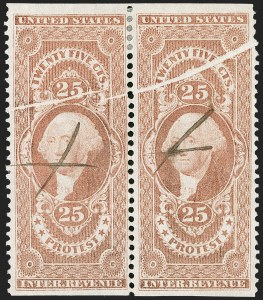 Sale Number 1209, Lot Number 1556, Revenues: First Issue Part Perforated25c Protest, Part Perforated (R49b), 25c Protest, Part Perforated (R49b)
