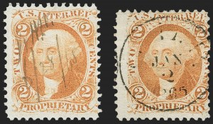 Sale Number 1209, Lot Number 1561, Revenues: First Issue Perforated2c Proprietary, Orange, Double Transfer (T13 var., T13a), Perforated (R14c var, 2c Proprietary, Orange, Double Transfer (T13 var., T13a), Perforated (R14c var