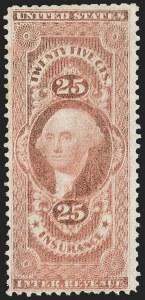 Sale Number 1209, Lot Number 1566, Revenues: First Issue Perforated25c Insurance, Perforated, Double Impression (R46e), 25c Insurance, Perforated, Double Impression (R46e)