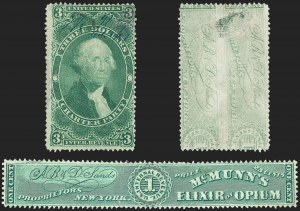 Sale Number 1209, Lot Number 1570, Revenues: First Issue Perforated$3.00 Charter Party, Perforated, Impression of No. RS208 on Back (R85cg), $3.00 Charter Party, Perforated, Impression of No. RS208 on Back (R85cg)