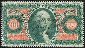 Sale Number 1209, Lot Number 1575, Revenues: First Issue Perforated$200.00 U.S.I.R., Perforated (R102c), $200.00 U.S.I.R., Perforated (R102c)